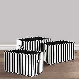 Black And White Striped Collapsible Bins, Set of 3