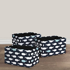 Navy Whale Collapsible Bins, Set of 3