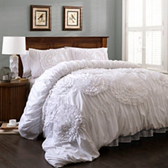 White Serena 3-pc. Queen Comforter Set