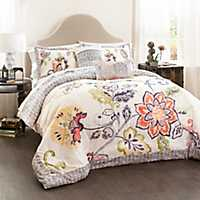 Coral and Navy Aster 5-pc. Full/Queen Comforter Se