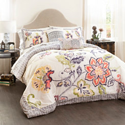 Coral and Navy Aster 5-pc. King Comforter Set