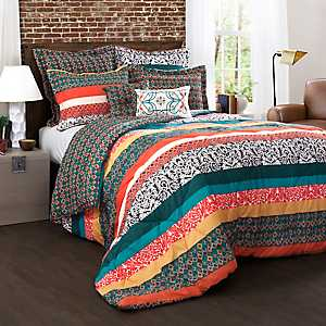 Turquoise and Tangerine Boho 7-pc. King Comforter