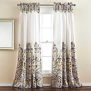 Clara Yellow Curtain Panel Set, 84 in.