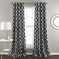 Edward Black Curtain Panel Set, 84 in.