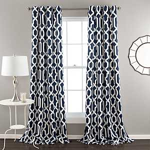 Edward Navy Curtain Panel Set, 84 in.