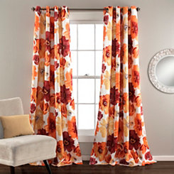 Leah Orange Curtain Panel Set, 84 in.