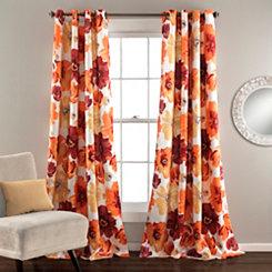 Leah Orange Curtain Panel Set, 84 in.