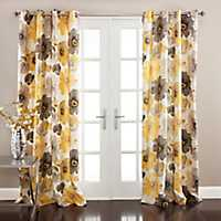 Leah Yellow Curtain Panel Set, 84 in.