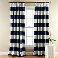 Navy Stripe Blackout Curtain Panel Set, 84 in.
