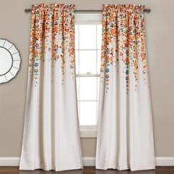 Tangerine Flowers Curtain Panel Set, 84 in.