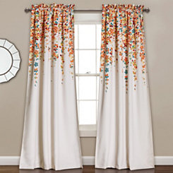 Tangerine Flowers Curtain Panel Set, 84 in.