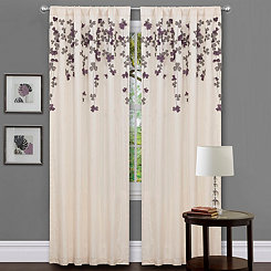 Ivory Flower Drops Curtain Panel, 84 in.