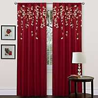 Red Flower Drops Curtain Panel, 84 in.
