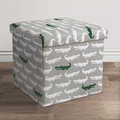 Alligator Print Collapsible Storage Ottoman
