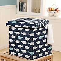 Navy Whale Collapsible Storage Ottoman