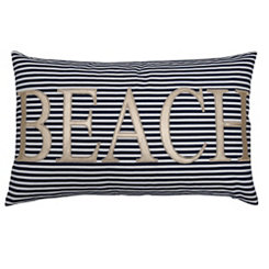 Navy Striped Beach Accent Pillow
