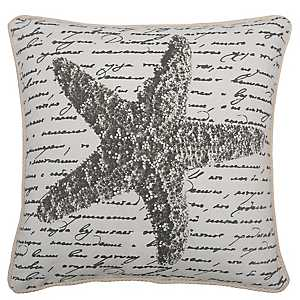 Gray Starfish Script Pillow