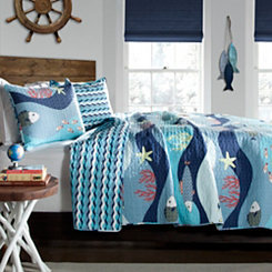 Sealife Blue 2-pc. Twin Quilt Set