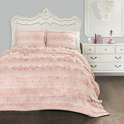 Belle Pink Blush 3-pc. Full/Queen Quilt Set
