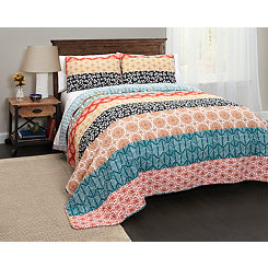 Bohemian Stripe 3-pc. Full/Queen Quilt Set