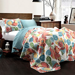 Layla Orange and Blue 3-pc. Full/Queen Quilt Set