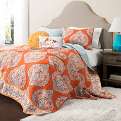 Harley Tangerine 5-pc. Full/Queen Quilt Set
