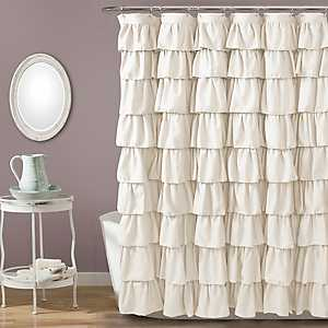 Ivory Ruffle Shower Curtain