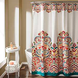 Turquoise and Tangerine Clara Shower Curtain