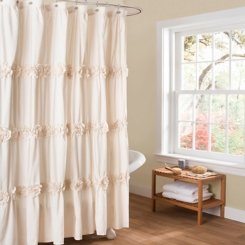 Ivory Darla Floral Ruched Shower Curtain