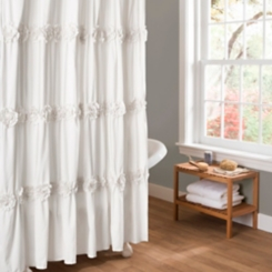 White Darla Floral Ruched Shower Curtain