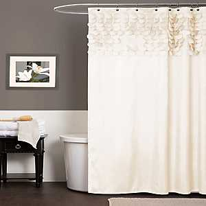 Beige Lillian Cut Circle Pattern Shower Curtain