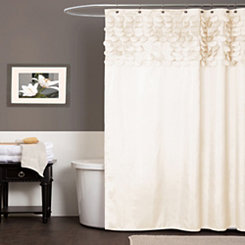 Beige Lillian Cut Circle Pattern Shower Curtain
