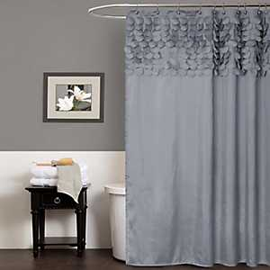 Gray Lillian Cut Circle Pattern Shower Curtain