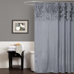 Gray Lillian Cut Circle Pattern Shower Curtain