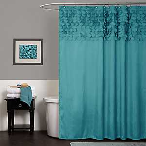 Turquoise Lillian Cut Circles Shower Curtain
