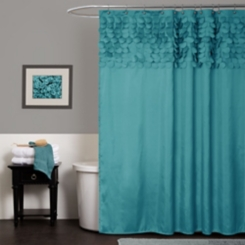Turquoise Lillian Cut Circles Shower Curtain