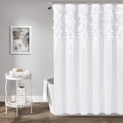 White Lillian Cut Circle Pattern Shower Curtain