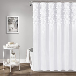White Lillian Cut Circle Pattern Shower Curtain