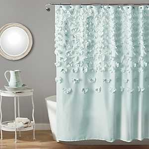 Blue Lucia Crafted Flower Shower Curtain
