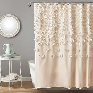 Ivory Lucia Crafted Flower Shower Curtain