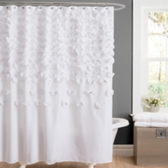 White Lucia Crafted Flower Shower Curtain
