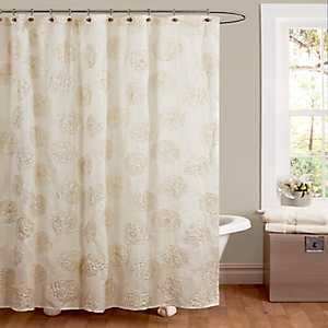 Ivory Samantha Embroidered Shower Curtain