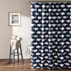 Navy Whale Shower Curtain