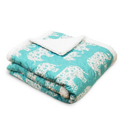 Aqua Elephant Parade Sherpa Blanket