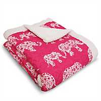 Hot Pink Elephant Parade Sherpa Blanket