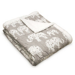 Soft Gray Elephant Parade Sherpa Blanket