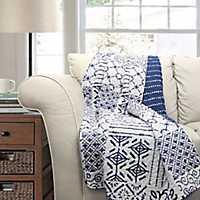 Monique Blue Patchwork Blanket