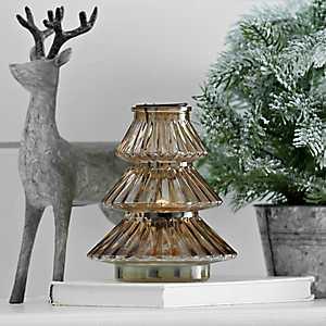 Amber Glass Christmas Candle Holder