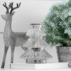 Clear Glass Christmas Candle Holder