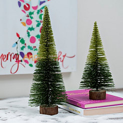 Bottle Brush Green Ombre Tree, Set of 2